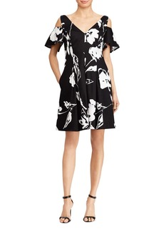 Lauren Ralph Lauren Floral Sateen Cold-Shoulder Dress