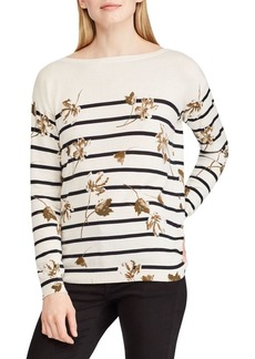 Lauren Ralph Lauren Floral Striped Cotton Top