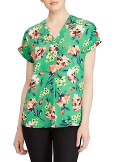 Lauren Ralph Lauren Floral V-Neck Crepe Top
