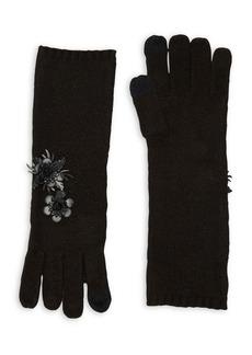 Lauren Ralph Lauren Floral Applique Knit Mid-Length Gloves
