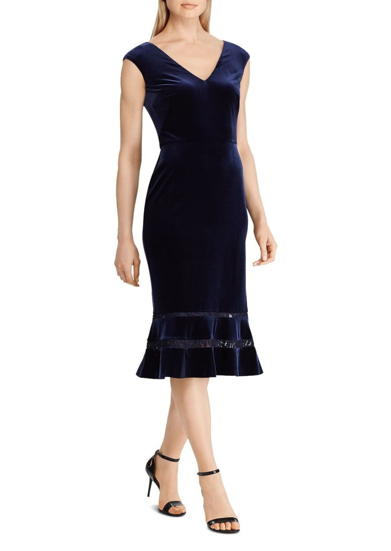 Lauren Ralph Lauren Fluted Lace Inset Velvet Dress