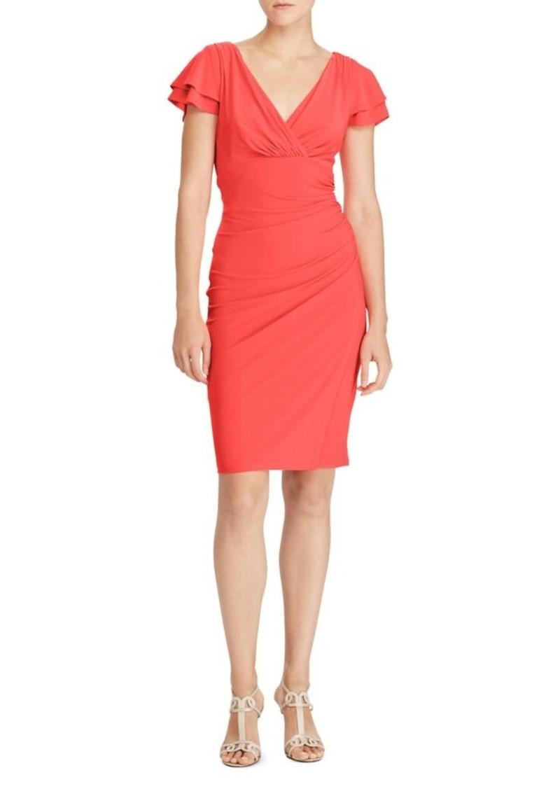 1dd28b82 Lauren Flutter-Sleeve Jersey Sheath Dress
