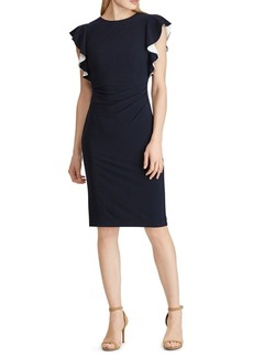 Lauren Ralph Lauren Flutter-Sleeve Jersey Sheath Dress
