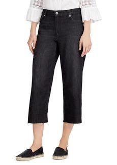 Lauren Ralph Lauren Frayed Wide-Leg Ankle Jeans