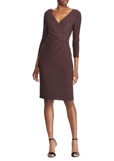 Lauren Ralph Lauren Geometric-Print Jersey Faux Wrap Dress