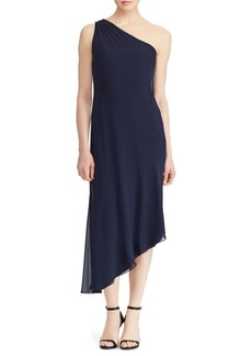 Lauren Ralph Lauren Georgette One-Shoulder Dress