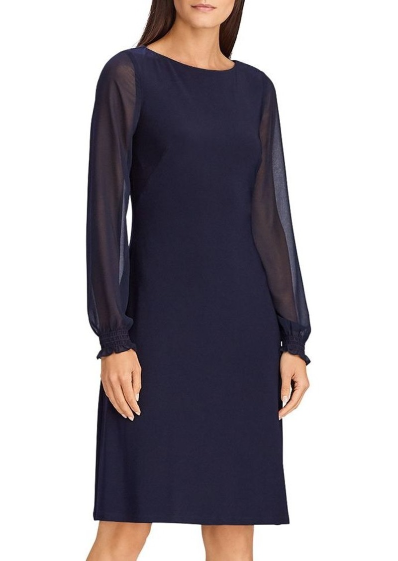 Lauren Ralph Lauren Georgette-Sleeve Jersey Dress
