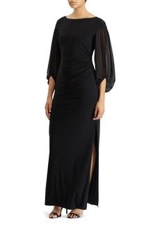 Lauren Ralph Lauren Georgette-Sleeve Jersey Gown