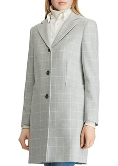 Lauren Ralph Lauren Gingham Crepe Reefer Coat