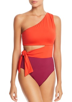 Lauren Ralph Lauren Glamour Color-Block Cutout One Piece Swimsuit