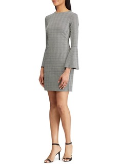 Lauren Ralph Lauren Glen Plaid Bell-Sleeve Sheath Dress