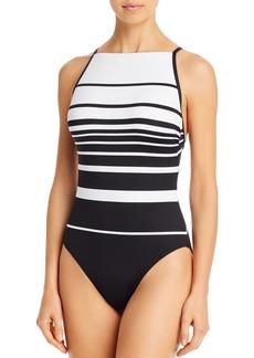 Lauren Ralph Lauren Gradient Striped High Neck One Piece Swimsuit