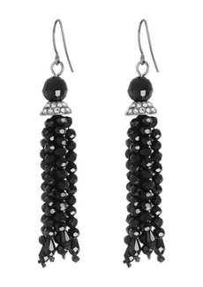 Ralph Lauren Hide and Chic Faceted Jet Tassel Earrings
