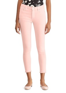 Lauren Ralph Lauren High-Rise Skinny Crop Frayed-Hem Jeans in Pink