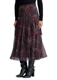 Lauren Ralph Lauren High-Rise Tiered Georgette Midi Skirt