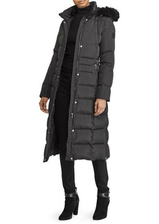 Lauren Ralph Lauren Hooded Quilted Down Faux Fur Trimmed Coat