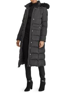 Lauren Ralph Lauren Hooded Quilted Down Faux Fur Trimmed Coat