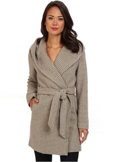 LAUREN Ralph Lauren Houndstooth Plaid Hooded Wrap Coat