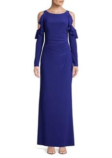 Lauren Ralph Lauren Jersey Cold-Shoulder Gown