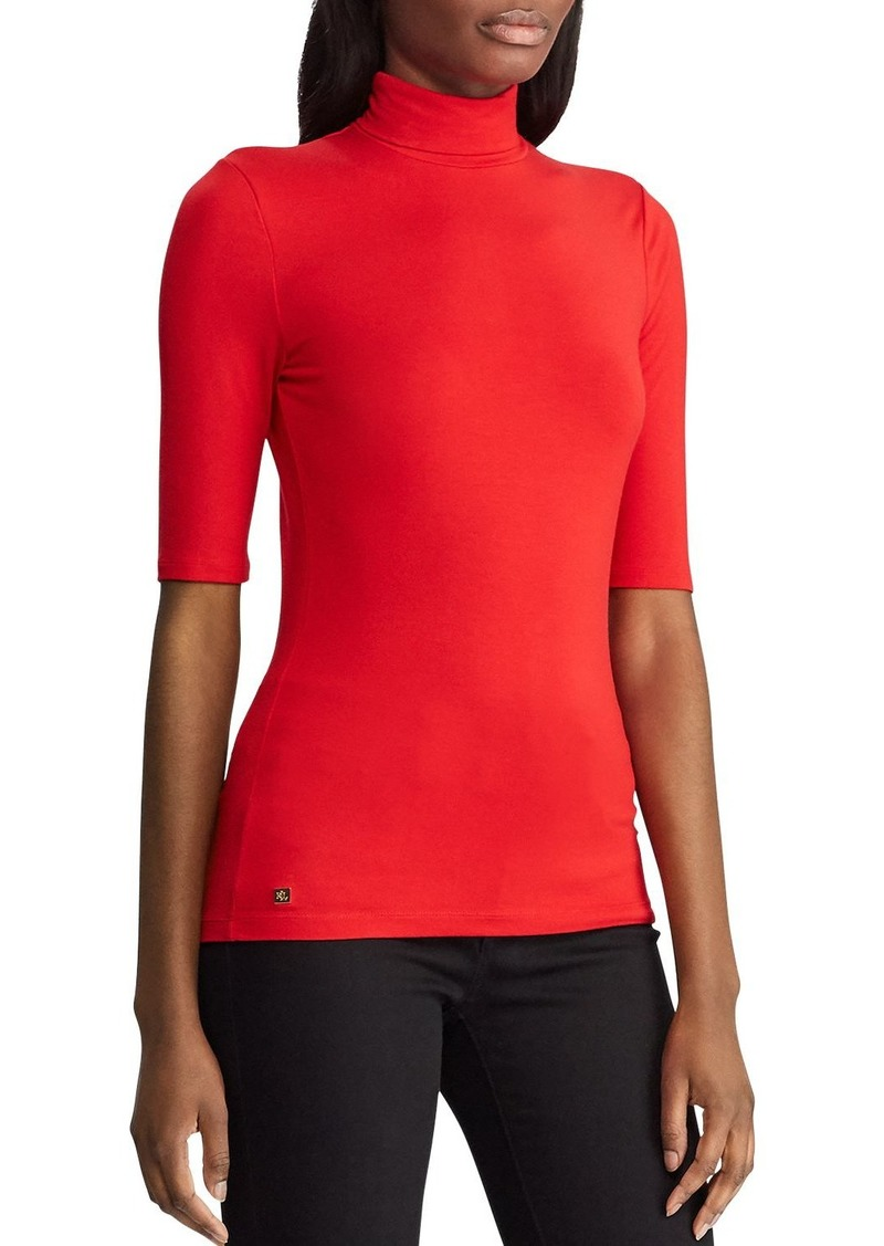 Lauren Ralph Lauren Jersey Elbow-Sleeve Turtleneck Top