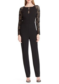 Lauren Ralph Lauren Jersey Lace-Sleeve Jumpsuit