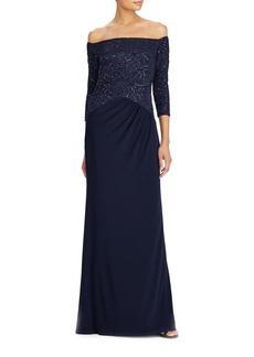 Lauren Ralph Lauren Jersey Off-the-Shoulder Gown