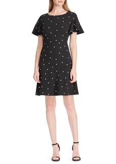 Lauren Ralph Lauren Kayon Polka-Dot Flare Dress