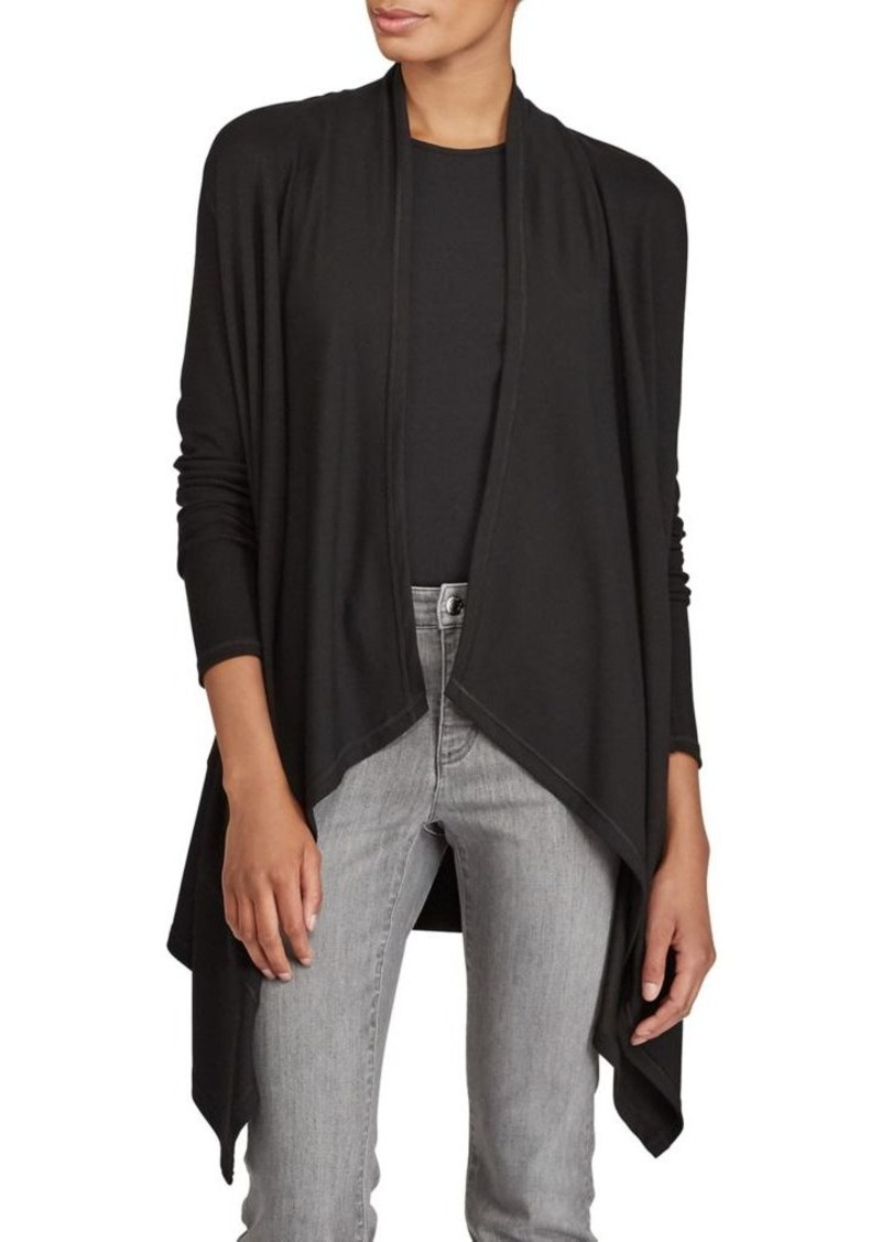 draped open l cardigan red wine in sweaters asymmetrical front drapes