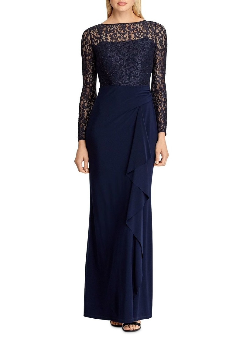 Lauren Ralph Lauren Lace-Bodice Gown