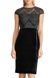 Lauren Ralph Lauren Lace-Bodice Velvet Dress