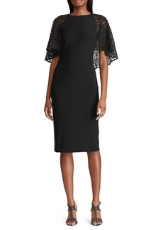Lauren Ralph Lauren Lace-Cape-Overlay Dress