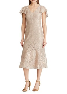 Lauren Ralph Lauren Lace Cocktail Midi Dress
