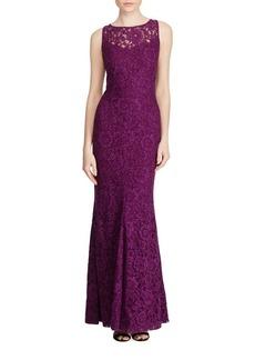 Lauren Ralph Lauren Lace Detail Mermaid Evening Gown