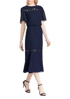 Lauren Ralph Lauren Lace-Inset Chiffon Dress