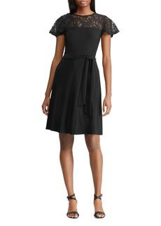 Lauren Ralph Lauren Petites Lace-Inset Dress