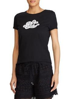 Lauren Ralph Lauren Lace-Logo Cotton Tee