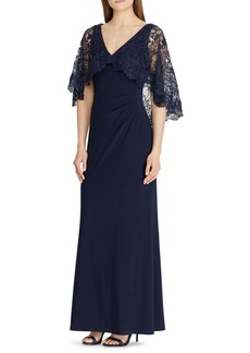 Lauren Ralph Lauren Lace-Overlay Jersey Fit-and-Flare Gown