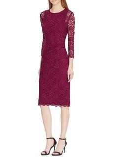 Lauren Ralph Lauren Lace Sheer-Sleeve Dress