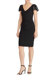 Lauren Ralph Lauren Lace-Sleeve Jersey Sheath Dress