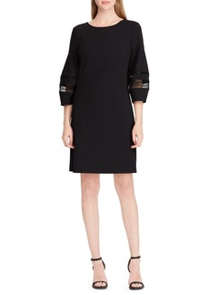 Lauren Ralph Lauren Lace-Trim Crepe Shift Dress