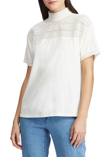 Lauren Ralph Lauren Lace-Trim Mockneck Top