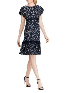 Lauren Ralph Lauren Lace-Trimmed Floral Crepe Dress