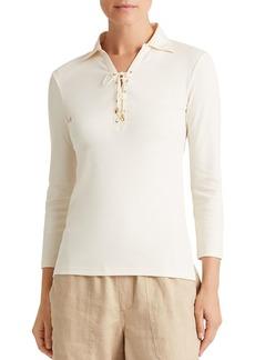 Lauren Ralph Lauren Lace-Up Collared Shirt
