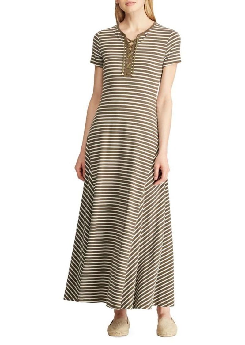 Lauren Ralph Lauren Lace-Up Cotton Blend Jersey Maxi Dress