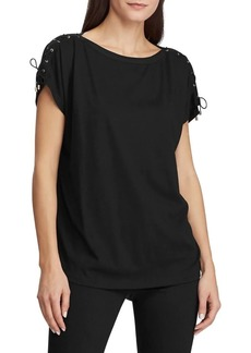 Lauren Ralph Lauren Lace-Up Cotton Blend Top