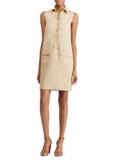 Lauren Ralph Lauren Lace-Up Cotton Shift Dress