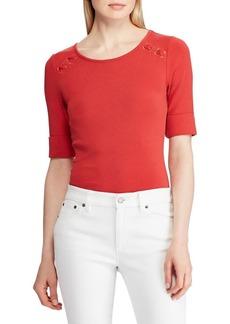 Lauren Ralph Lauren Lace-Up Cotton Top