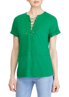 Lauren Ralph Lauren Lace-Up Cuffed Top