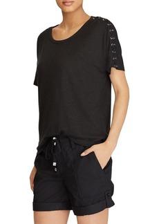 Lauren Ralph Lauren Lace-Up Linen T-Shirt