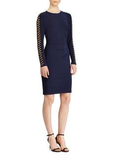 Lauren Ralph Lauren Lace-Up Sleeve Jersey Dress